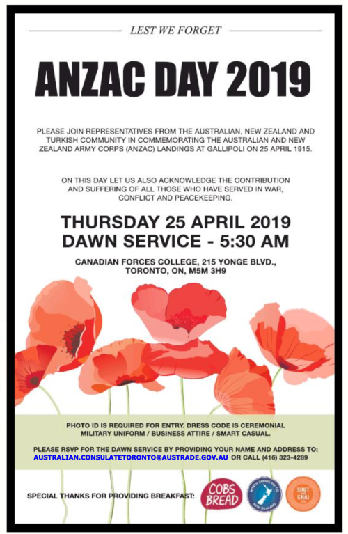 Information sheet for Anzac Day dawn service in Toronto, Canada